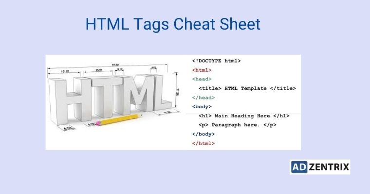 html tags cheat sheet by adzentrix digital marketing insitute